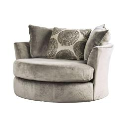 Round Shaped Contemporary Style Fabric Wood Swivel Chair With Arms, Gray