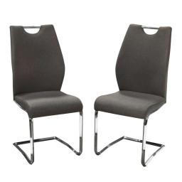 Fabric Upholstered Metal Dining Side Chairs with Handle, Gray and Silver, Pack of Two