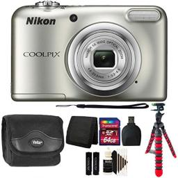 Nikon COOLPIX A10 161 MP Digital Camera (Silver) + 64GB Memory Card + Wallet + Reader + Camera Case + 3pc Cleaning Kit + Flexible Tripod