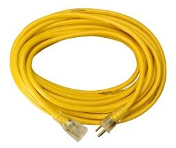 Yellow Jacket 2883 12/3 Heavy-Duty 15-Amp SJTW Contractor Extension Cord with Lighted Ends, 25-Feet