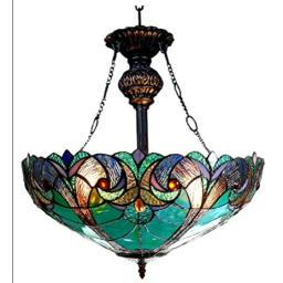 """Chloe Lighting CH18780VG18-UH2 Liaison Tiffany-Style Victorian 2-Light Inverted Ceiling Pendant Fixture, 22 x 18 x 18"""", Multicolor"""