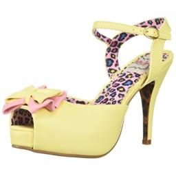 Bettie Page Women's BP412-VIXEN Heeled Sandal, Yellow, 9 B US