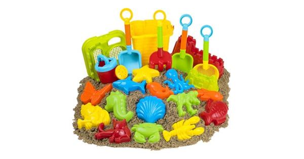 23pc Kids Beach Toys Set, Sandbox Toys; Sand Toys .23 Piece Beach Toys & Sand Toys Set.Great Sand Toys For Kids; Great Beach Toys For Kids.Unique Sand Toy Molds & Designs to Kangaroo; Unavailable In Any Other Beach Toy Sets.Sand & Water Toys are The Best Toys For Summer.All 23 Sandcastle Toys; Summer Toys Come In A Beautiful Zip Up Storage Bag.