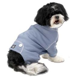PetRageous Cozy Thermal Pajamas for Pets, Medium, Blue with White Stitching