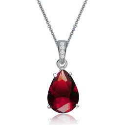 Rozzato Jewelry Sterling Silver Red Cubic Zirconia Pear Drop Solitaire Necklace