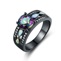 Black Rhodium Plated Mystic Topaz & White Fire Opal Engagement Ring - Size 5