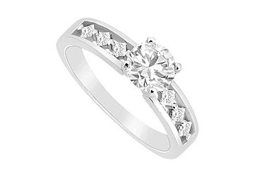 14K White Gold Engagement Ring with Round and Princess Cut CZ of 0.75 Carat Total Gem Weight