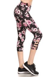 Capri Printed Leggings with Bottom Side Cross Straps- Floral Prints BLACKFLORAL-XL