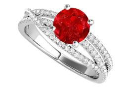 Ruby and CZ Criss Cross Design Ring in 14K White Gold