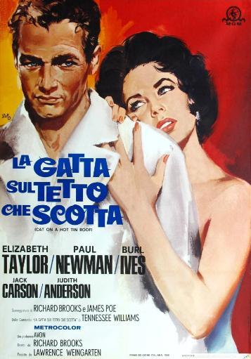 Cat On A Hot Tin Roof From Left: Paul Newman Elizabeth Taylor 1958 Movie Poster Masterprint