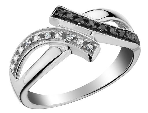 White and Black Diamond Ring in Sterling Silver