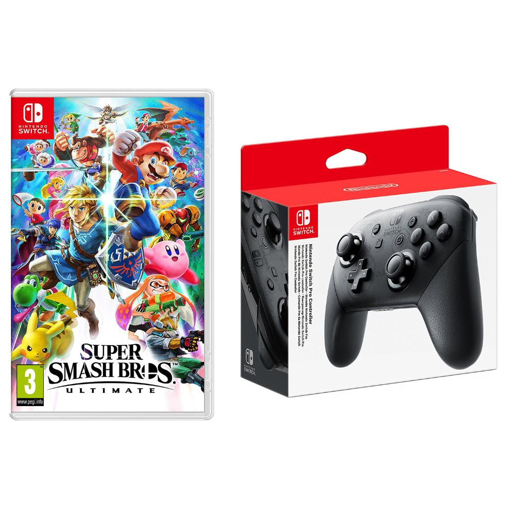 Super Smash Bros. Ultimate Nintendo Switch Import Region Free and Pro Controller