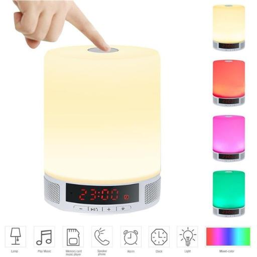 TechComm L2-WHT L2 Wireless Bluetooth Speaker LED Lamp FM Radio Multi-Color Mode, White