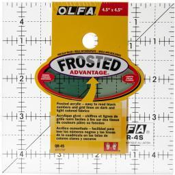 "OLFA Frosted Advantage Non-Slip Ruler ""The Charm"" 4-1/2""X4-1/2"""