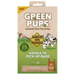 Bags On Board 3203940050 Brown Bags On Board Green-Ups Waste Pick-Up Hand Tie Bags 100 Count Brown