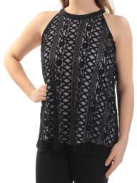 Alfani  Womens Black Jewel Neck Lace Sleeveless Casual Top, Black, Size 8