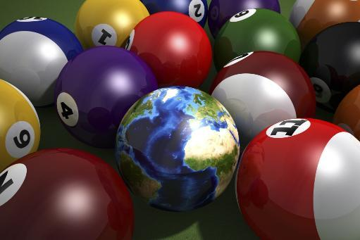 Pool table with balls and one of them as planet Earth. Close-up on Atlantic view Poster Print