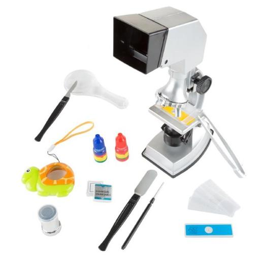 Hey Play M330029 Microscope for Kids Educational Science Set 4-Way Magnification From 100X to 900X with Projection Viewing for Boys & Girls - 18 Piece