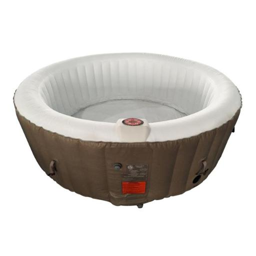 Aleko HTIR6BRW-UNB 264 gal Round Inflatable Hot Tub Spa with Cover, Brown & White - 6 Person