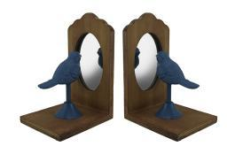 Pretty Perch Blue Bird Looking Into Mirror Vintage Rustic Bookend Set