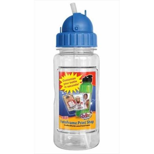 Water Bottle 14 Oz With Straw & Fotoframe Blue
