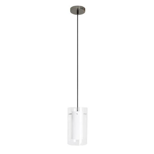 Efficient Lighting EL-506-113-WHT Contemporary 1-Light Pendant Fixture with Clear Outer Glass and White Inner Glass