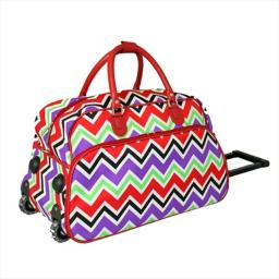 All-seasons 8112022-170 21 In. Zigzag Collection Carry-on Rolling Duffel Bag, Red Trim