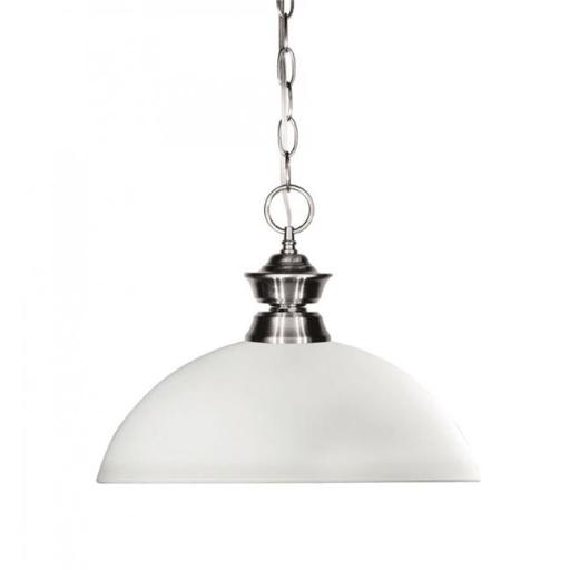 Zlite 100701BN-DMO14 Shark 1 Light Pendant in Brushed Nickel with Dome Matte Opal Shade