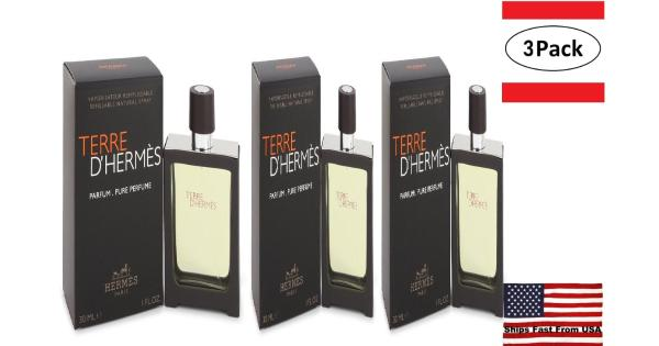 3 Pack Terre D'Hermes by Hermes Pure Pefume Spray 1 oz for Men Hermes Terre D'Hermes harkens to the scent of a natural man living in splendor. This elegant fragrance debuted on the market in 2006 and quickly defined itself as a leading industry standard. We are pleased to sell Hermes Terre d'Hermes products, including Terre d'Hermes cologne.