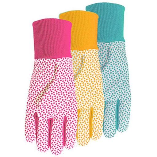 Midwest Quality Gloves 522D4 Ladies Combination Jersey & Cotton Canvas Gloves