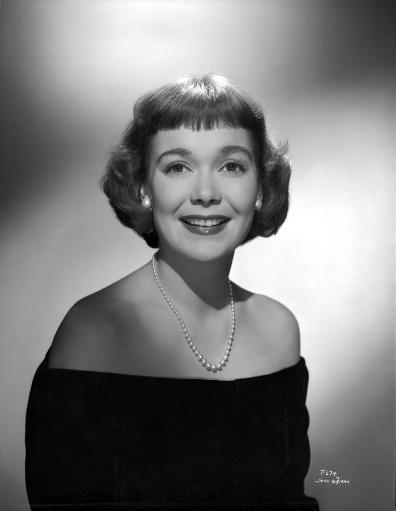 Jane Wyman Portrait in Black Velvet Long Sleeve Shoulder Dress and Pearl Necklace with Pearl Earrings Photo Print
