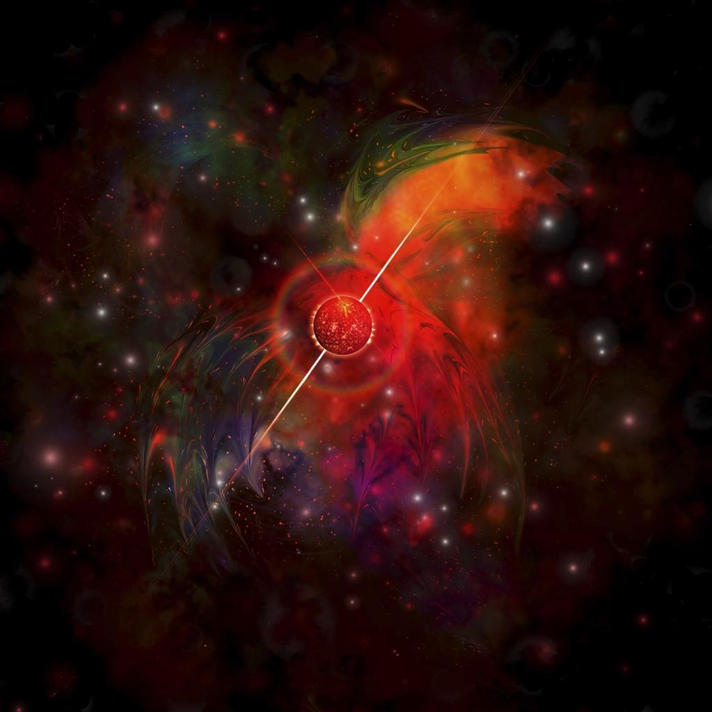 A pulsar star radiating strong beams of light Poster Print