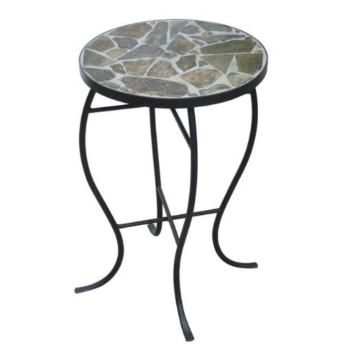 Design Mode 32-0406RT3 No. 3 Mosaic Tile Round Top Table with Metal Base
