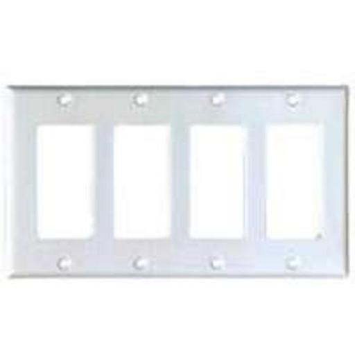 Cooper Wiring Pj264w 4-gang Decorator/gfci Wall Plate With White Finish, Mid-size - 4.875
