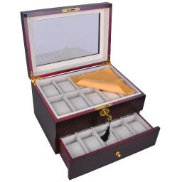 Yescom 20 Mens Wood Watch Display Case Glass Top Jewelry Collection Wooden Storage Box Organizer E