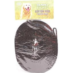 COASTAL PET PRODUCTS TRAIN RIGHT! COTTON WEB DOG TRAINING LEASH 30 FT BLACK