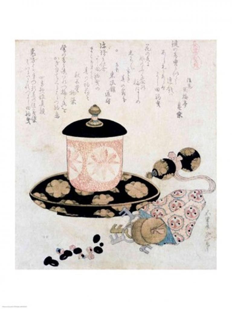 A Pot of Tea and Keys, 1822 Poster Print by Katsushika Hokusai