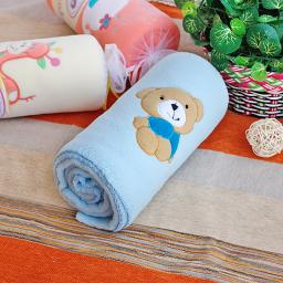"""Brown Bear - Blue Embroidered Coral Fleece Baby Throw Blanket (29.5""""-39.4"""")"""