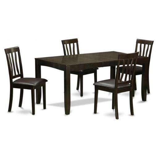 East West Furniture LYAN5-CAP-LC 5 Piece Dining Set-Dining Table With Leaf and 4 Dining Chairs