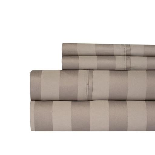Aspire Linens 650-BLND-QN-TUP 650 Thread Count Damask Stripe Sheet Set - Queen, Taupe
