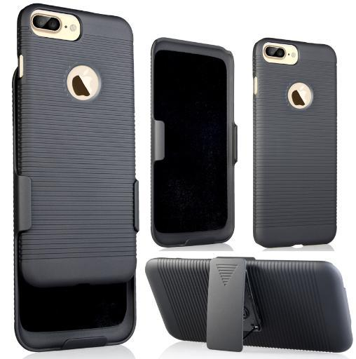 NCP BLACK RIBBED HARD CASE COVER + BELT CLIP HOLSTER STAND FOR iPHONE 7/8 PLUS +