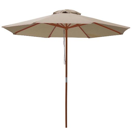 9ft Wooden Outdoor Patio Table Umbrella W/ Pulley Market Garden Yard Beach Deck Cafe Decor Sunshade