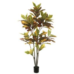 Vickerman TB170672 6 ft. Potted Artificial Green & Orange Cronton Tree with 140 Leaves