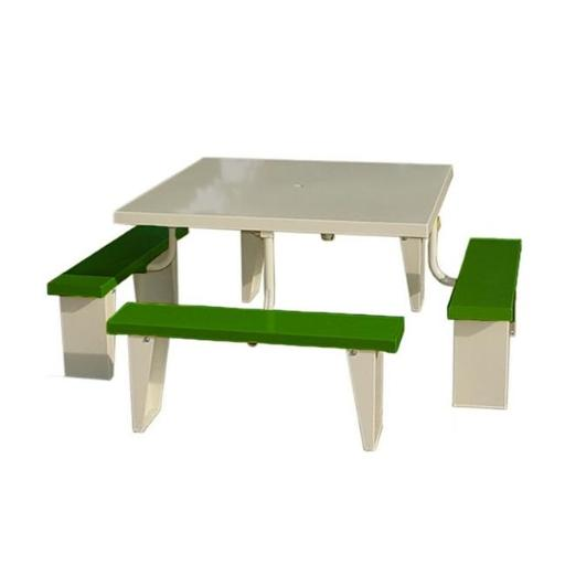 Prairie View PIC4848-G 8 Seats Aluminum Square Picnic Table, Green - 30 x 72 x 72 in.