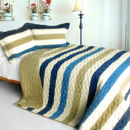 Pure Sea Air 3PC Patchwork Quilt Set (Full/Queen Size)