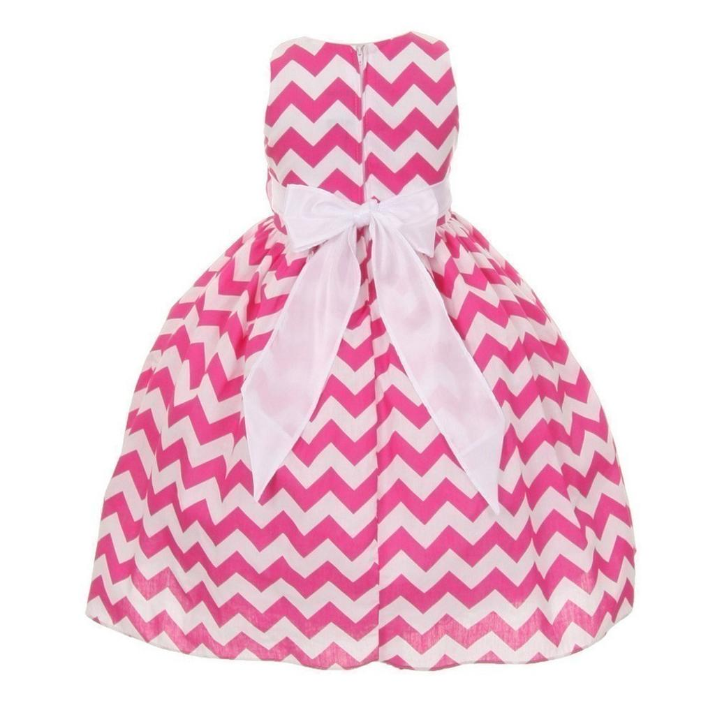 922a498f6 Shanil Inc. Shanil Inc Big Girls Fuchsia Chevron Stripe Bow Special  Occasion Dress 8-10 | massgenie.com