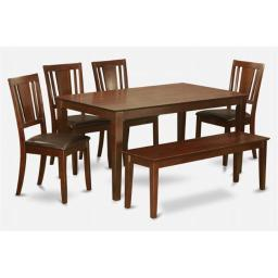 East West Furniture CADU6C-MAH-LC Capri 6PC Rectangualar Table with 4 Dudley Leather seat chairs and one 51-in Long bench
