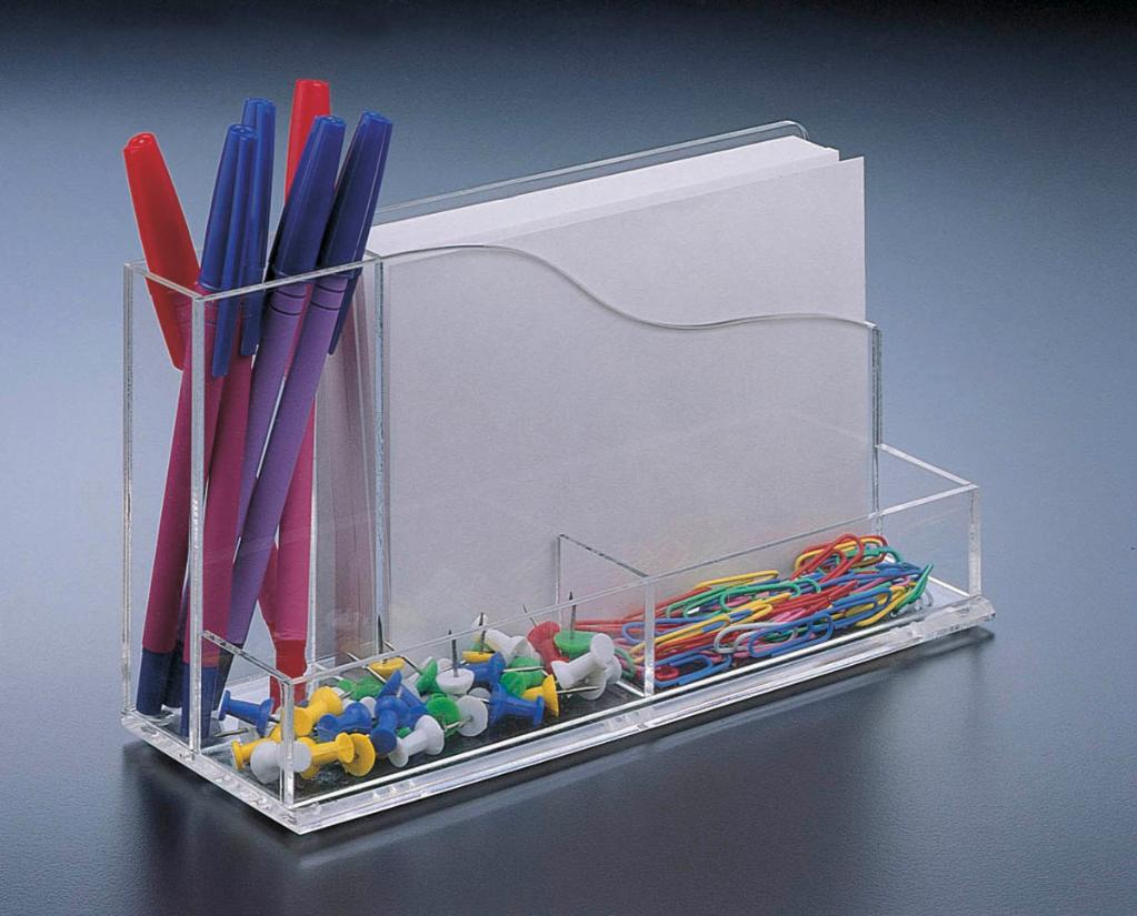 Acrylic Lucite Desk Organizer w/ 4 X 6 Memo Pad Holder w/ paper