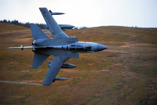 A Royal Air Force Tornado GR4 during low fly training in North Wales Poster Print