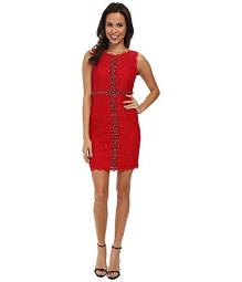 Adrianna Papell Women's Sleeveless Embellished Lace Red Dress 12
